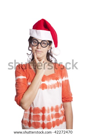 Funny female with santa hat and glasses