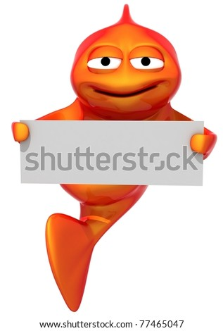 funny fish with empty blank, 3d render isolated on white - stock photo