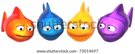funny fishes looking to your object, 3d render isolated on white - stock photo