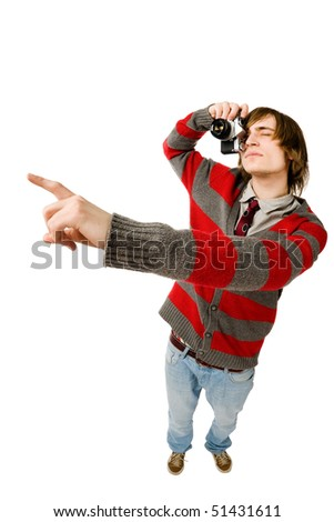 Funny fisheye portrait of man with camera - stock photo