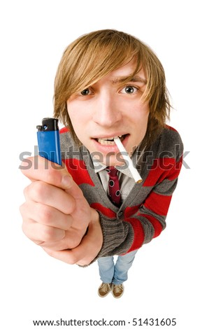 Funny fisheye portrait of man with cigarette - stock photo