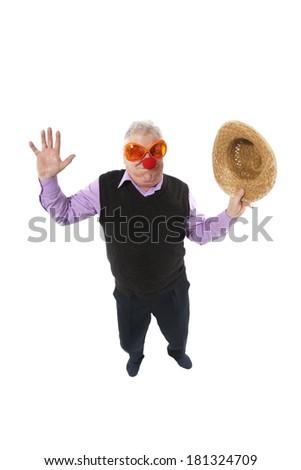 Funny fisheye portrait of the cheerful elderly man - stock photo