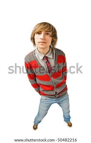 Funny fisheye portrait of young man - stock photo