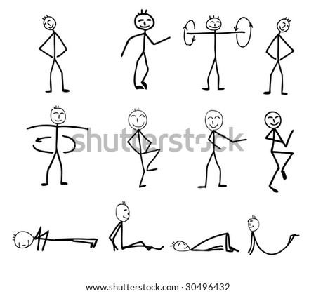 funny fitness silhouettes, cartoon illustration - stock photo