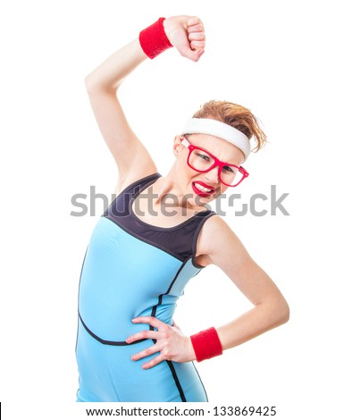 Funny fitness woman ready for gymnastick, expressive sport girl over white background - stock photo