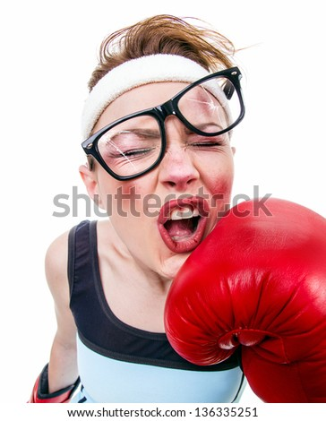 Funny fitness woman with boxing gloves, isolated on white - stock photo