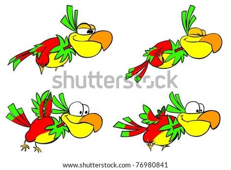 Funny flying parrots. - stock photo
