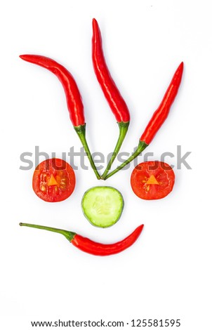 Funny food face of vegetables - stock photo