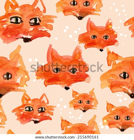 Funny fox faces on white background - stock photo