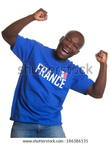 Funny french sports fan  - stock photo