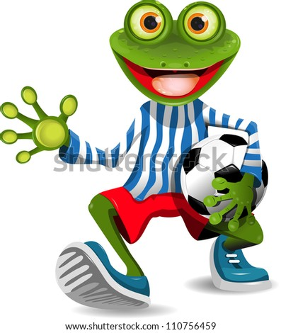 funny frog in top form with the ball - stock photo