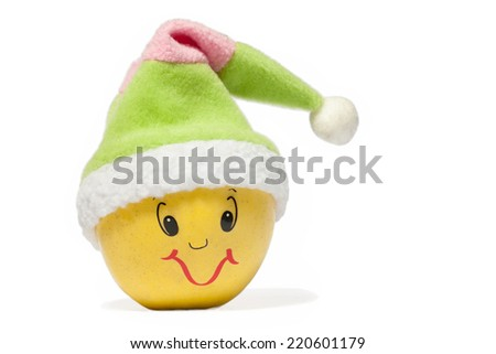 Funny fruit character Apple with hat on white background - stock photo