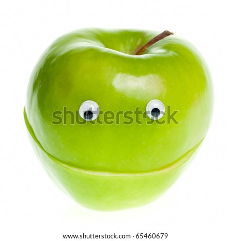 Funny fruit character Green Apple on white background - stock photo