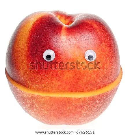 Funny fruit character Red Smiling Nectarine on white background - stock photo