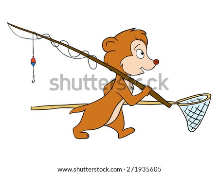 Funny furry character rodent fisher with rod - stock photo