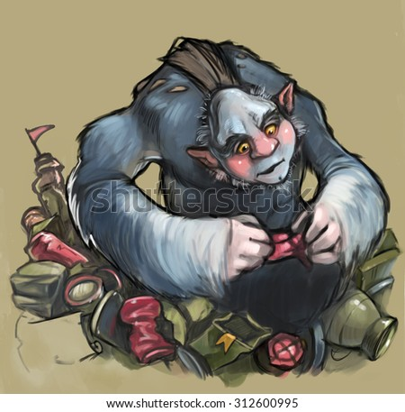 Funny furry monster in a heap of things - stock photo