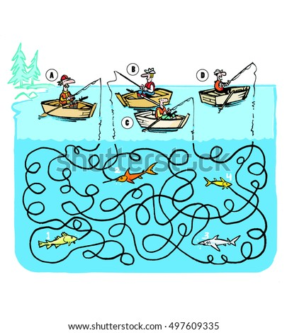 Funny game of a maze with fishermen and mixed strings in a cartoon style.