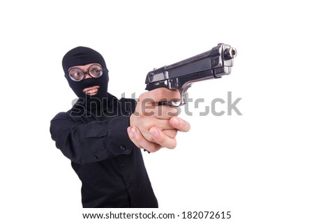 Funny gangster isolated on the white - stock photo