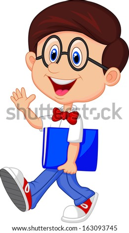 Funny geek with big glasses in white shirt and red tie - stock photo
