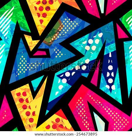 funny geometric seamless pattern (raster version) - stock photo