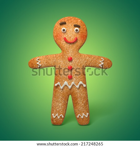 funny gingerbread man illustration, 3d cookie cartoon character - stock photo