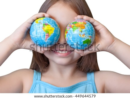Funny girl closed her eyes balls-globes - stock photo