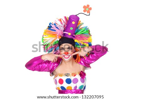 Funny girl clown with a beautiful smile isolated on white background