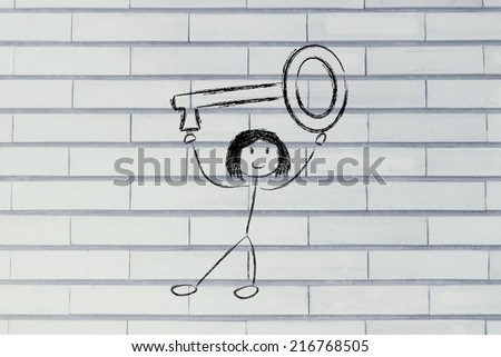 funny girl holding key to success, funny design - stock photo