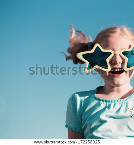 funny girl in big glasses - stock photo