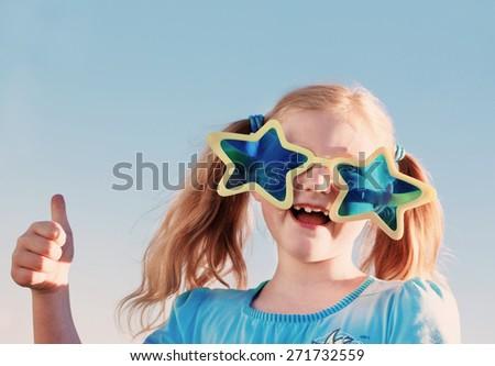 funny girl in big glasses - stock photo