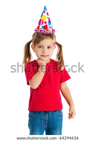 Funny girl in birthday cap isolated on white
