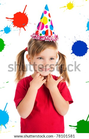 Funny girl in birthday cap isolated on white - stock photo