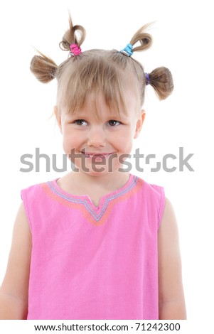 Funny girl in pink. Isolated on white background - stock photo