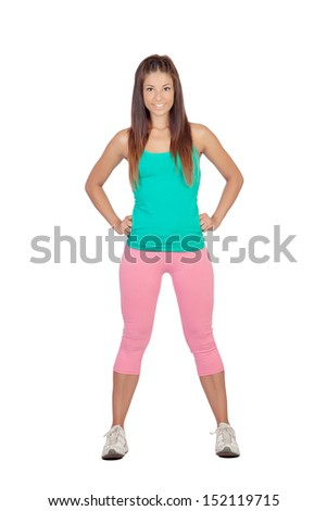 Funny girl in sportswear isolated on white background - stock photo
