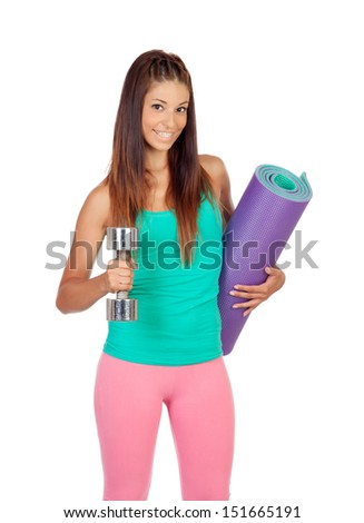 Funny girl in sportswear with a mat and dumbbell isolated on white background