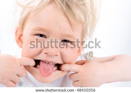 Funny girl on white - stock photo