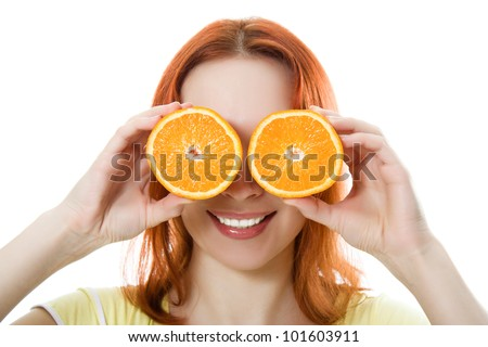 Funny girl portrait, holding oranges over eyes on a white background.