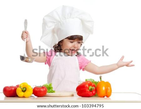 funny girl scullion preparing healthy food - stock photo