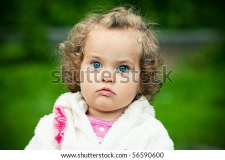funny girl with big eyes - stock photo
