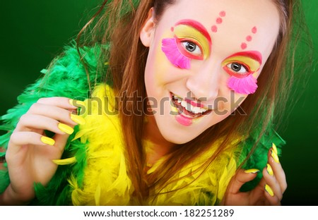 funny girl with crazy make-up