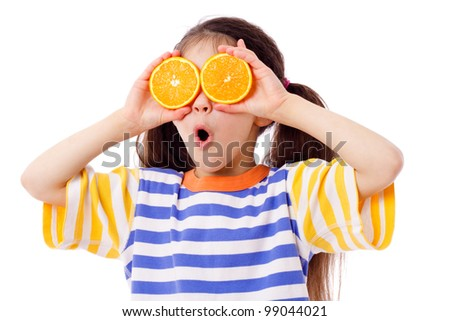 Funny girl with fruits on eyes, isolated on white