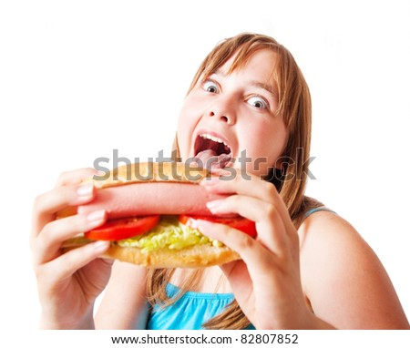 funny girl with hot dog