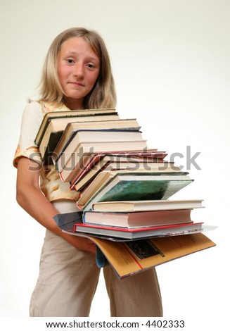 funny girl with stack of books