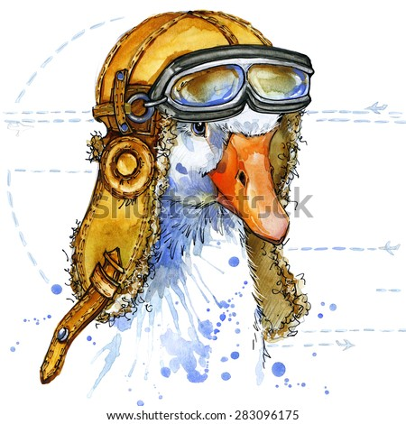 Funny goose aviator hat  T-shirt graphics, goose illustration with splash watercolor textured background. illustration watercolor goose fashion print, poster for textiles, fashion design - stock photo