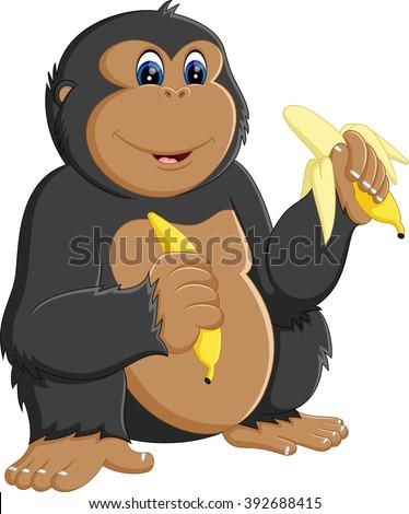 Funny gorilla cartoon - stock photo
