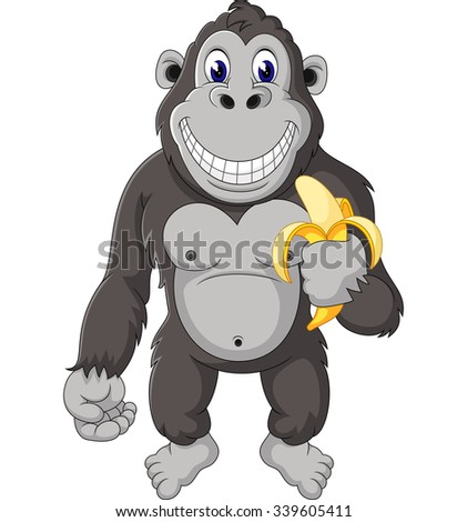 Funny gorilla cartoon of illustration  - stock photo