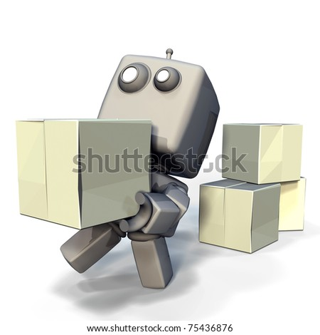 Funny Gray 3D Robot with blank crates isolated on white background - stock photo