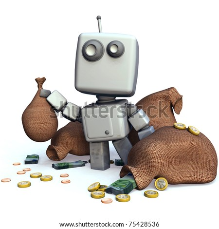 Funny Gray 3D Robot with money bags isolated on white background - stock photo
