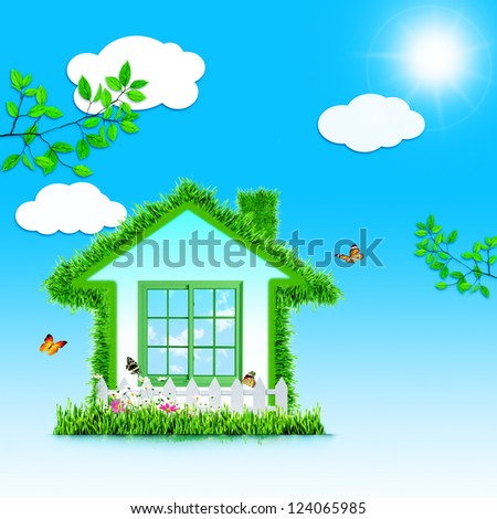 Funny Green House. Abstract eco backgrounds for your design - stock photo