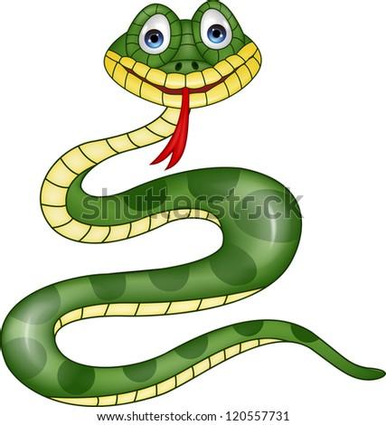 Funny green snake cartoon - stock photo